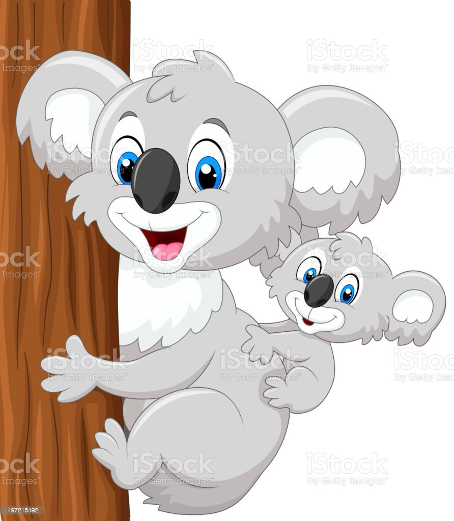 Cartoon baby koala on mother's back embracing tree vector art illustration