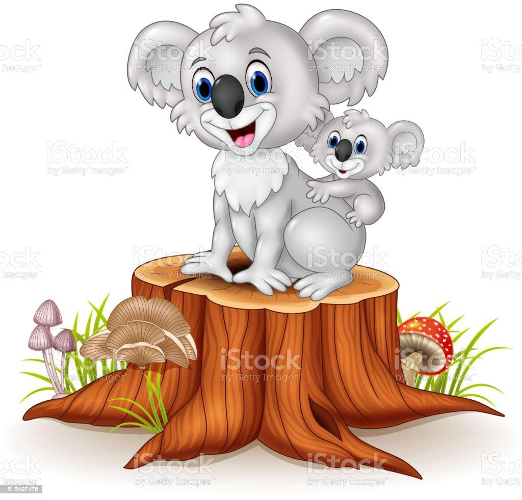 Cartoon baby Koala on Mother's Back on tree stump vector art illustration