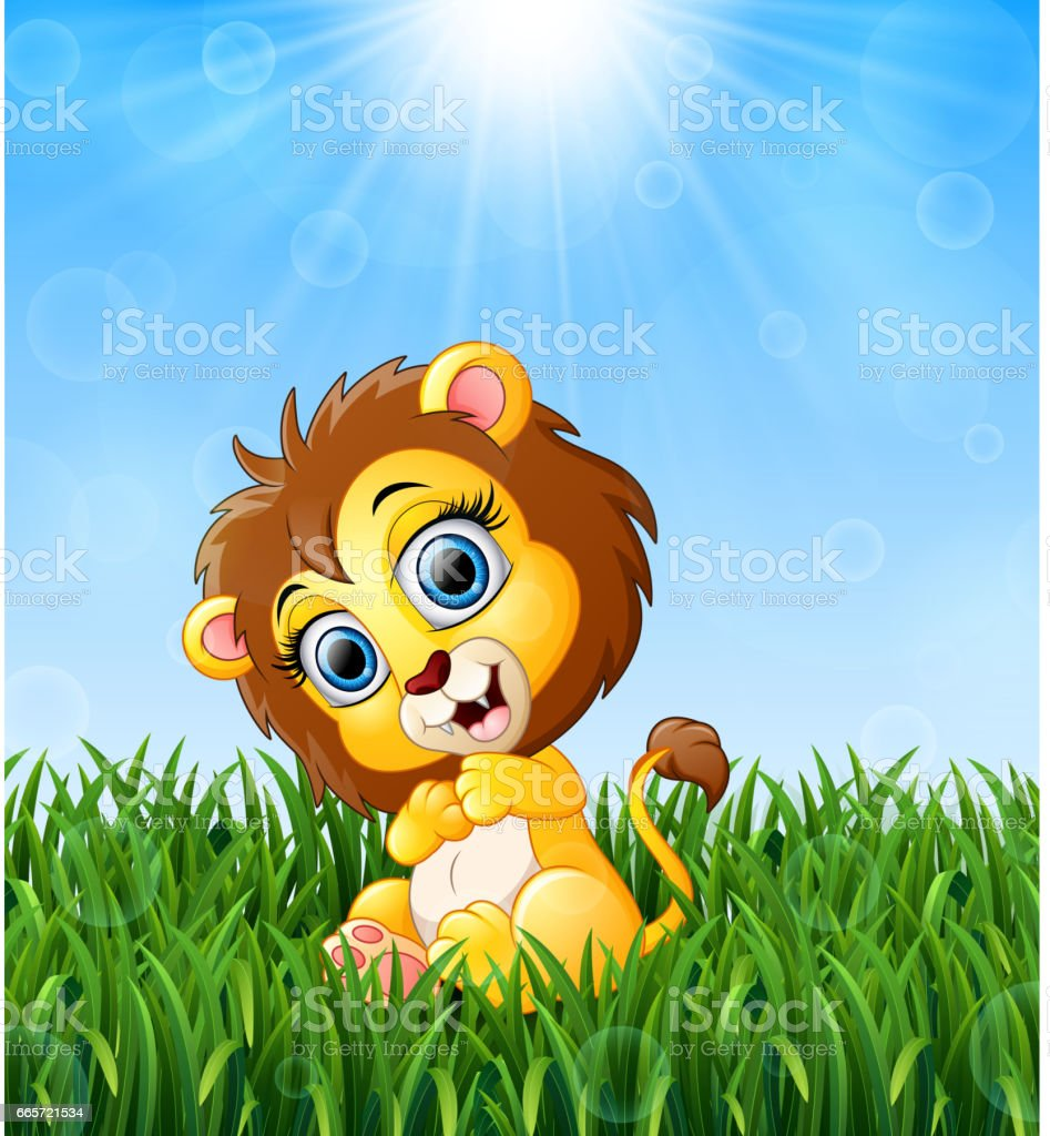 cartoon baby lion sitting in the grass on a background of bright