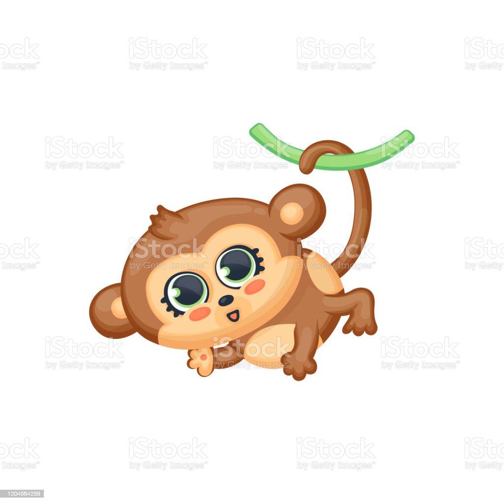 Vetores De Macaco De Bebe Desenho Pendurado Na Cauda Ilustracao