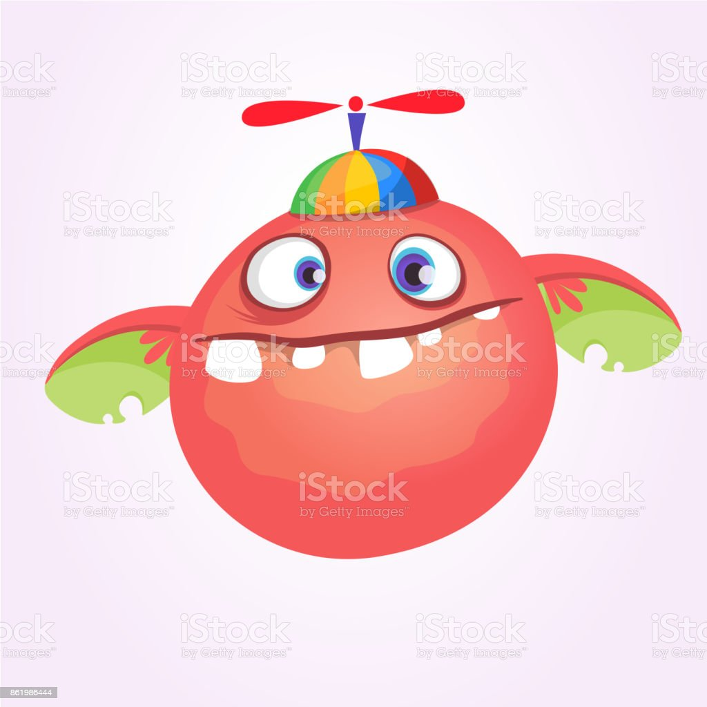 Cartoon baby monster in funny childrens hat with propeller.Vector illustration