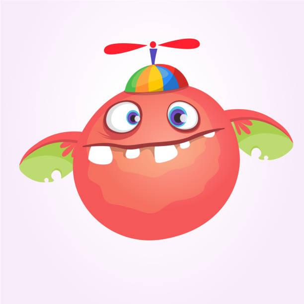Cartoon Baby Monster in lustige Kinder-Hut mit Propeller. Vektor-illustration – Vektorgrafik