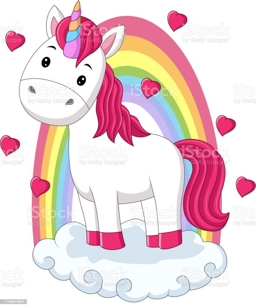 Cartoon Baby Pony Unicorn Standing On Clouds With Rainbow Stock ...