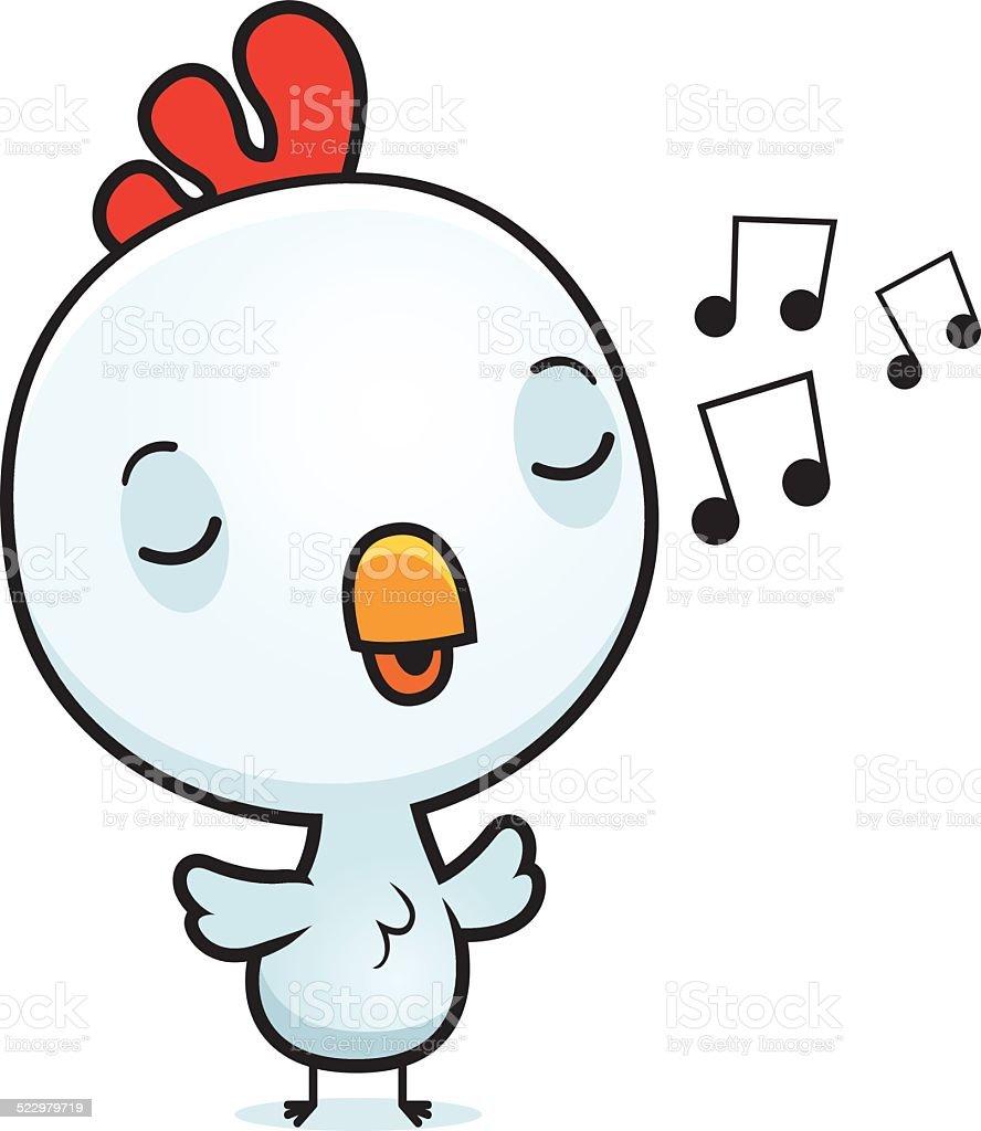 Cartoon Baby Rooster Singing vector art illustration