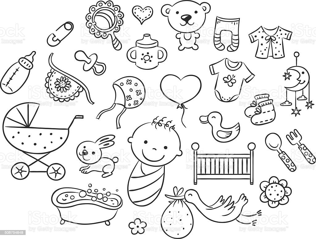 Cartoon baby set, black and white outline vector art illustration