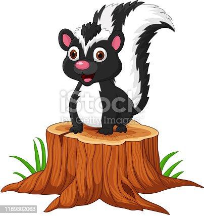Vector illustration of Cartoon baby skunk sitting on tree stump