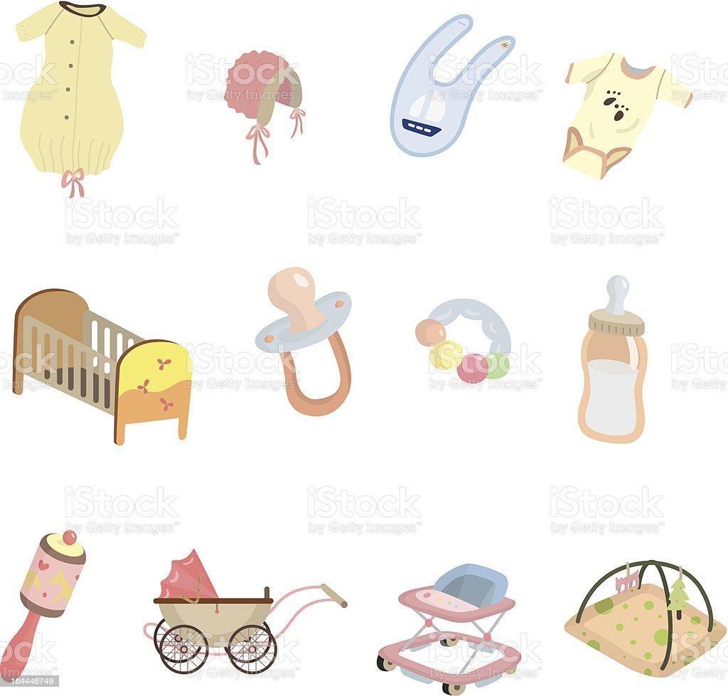 Cartoon Baby Stuff Icons Stock Illustration - Download ...