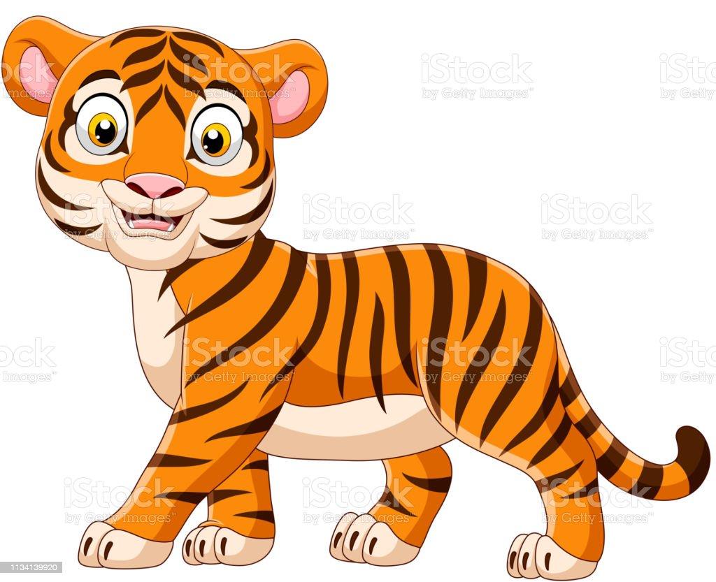 Ilustración De Bebé De Dibujos Animados Tigre Aislado En