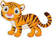 istock Cartoon baby tiger isolated on white background 1210465657