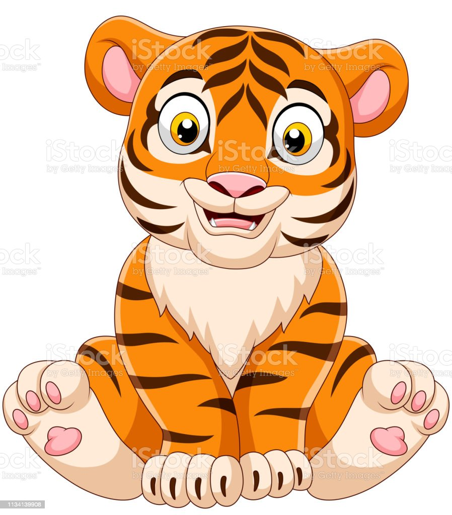 Ilustración De Dibujos Animados Bebé Tigre Sentado Y Más