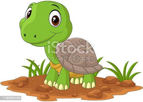 istock Cartoon baby turtle in the field 1190553183