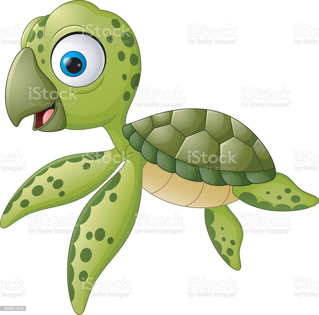 cartoon baby turtle swimming イラストレーションのベクターアート