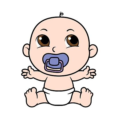 Cartoon Baby With Pacifier Stock Illustration - Download ...