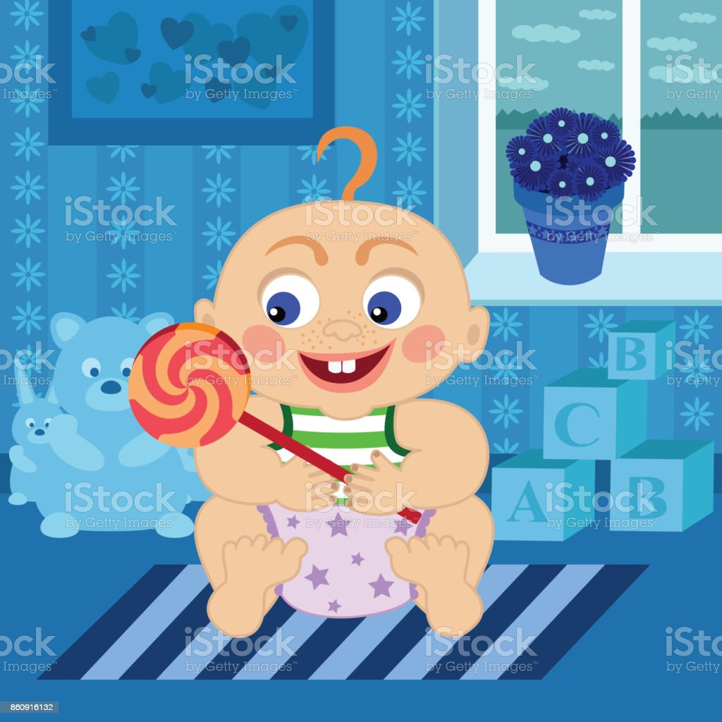 Cartoon baby with sugar candy in the room vector art illustration