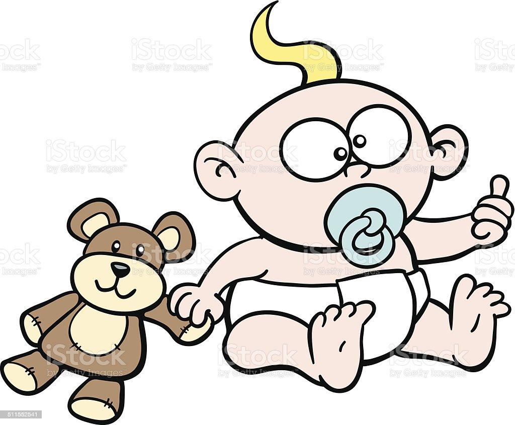 Dessin de b b avec ours en peluche sucer son pouce stock vecteur libres de droits 511552541 - Dessin ours en peluche ...
