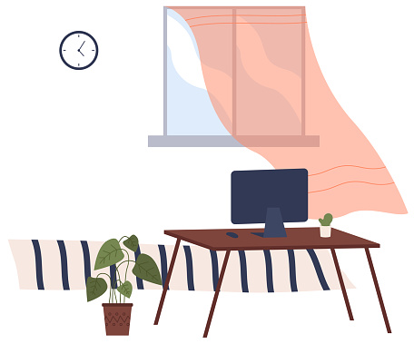 Cartoon background of living room with window, table with tv, plant in ceramic pot. Indoor furniture