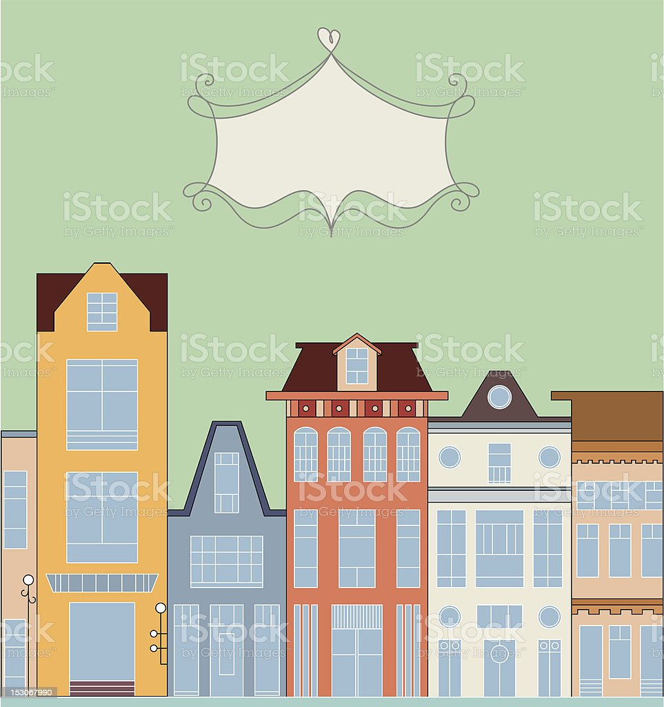 Cartoon background with town royalty-free stock vector art