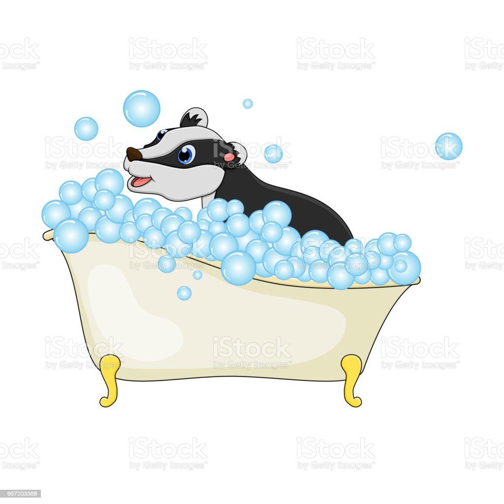 Cartoondachs In Badewanne Mit Luftblasen Isolierten Auf Weißen