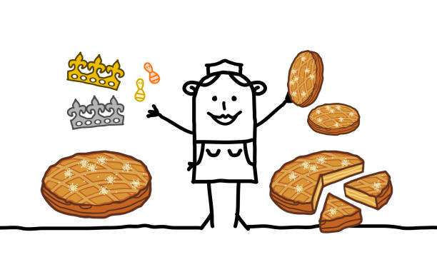 illustrations, cliparts, dessins animés et icônes de dessin animé baker vendeuse de gâteaux de l'épiphanie - galette des rois