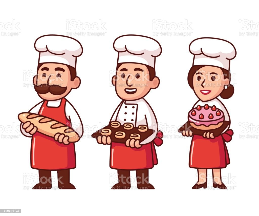 Cartoon bakers set vector art illustration