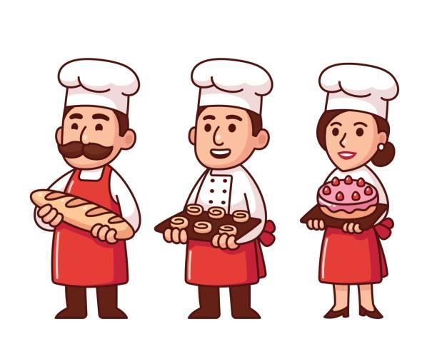 illustrations, cliparts, dessins animés et icônes de ensemble de boulangers de dessin animé - boulanger