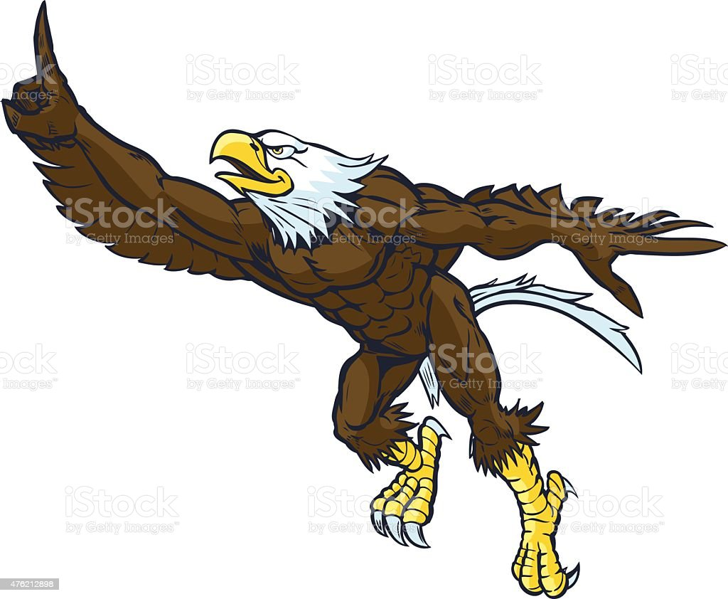 Cartoon Bald Eagle Mascot Doing Number One Gesture vector art illustration