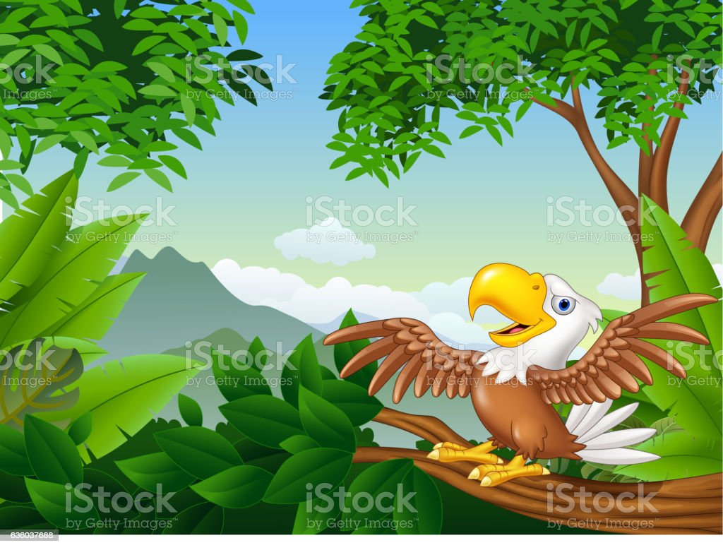 Cartoon bald eagle on a tree branch vector art illustration