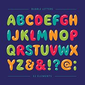 Bubble funny letters. Vector set