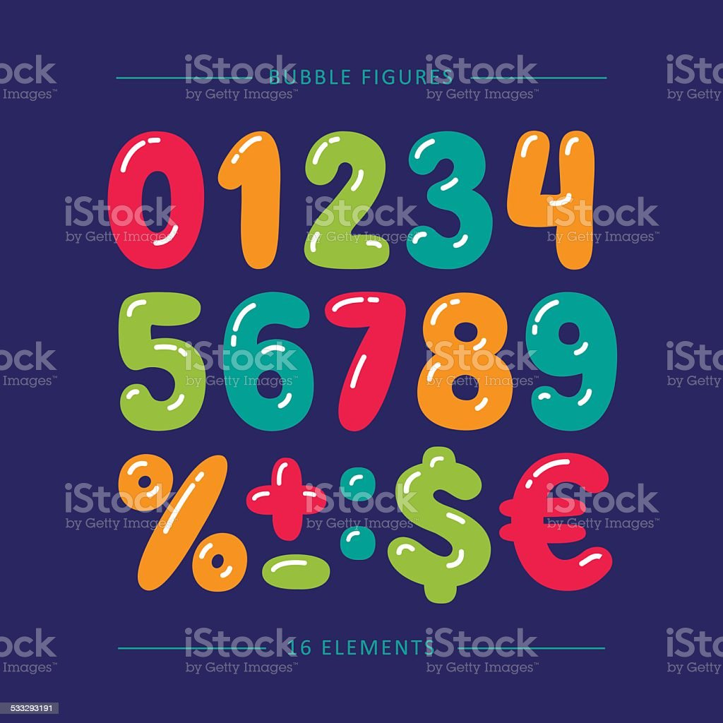 Cartoon balloon numbers with glare. Colorful vector set