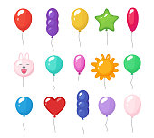Cartoon balloons. Festive entertainment bright reflections colored items shiny flying toys for party vector rubber air balloons. Birthday bright air helium balloons heart star and sun illustration