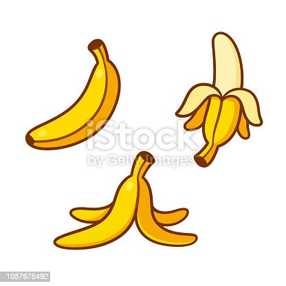Set of cartoon banana drawings: single, peeled and banana peel on the ground. Vector clip art illustration collection.