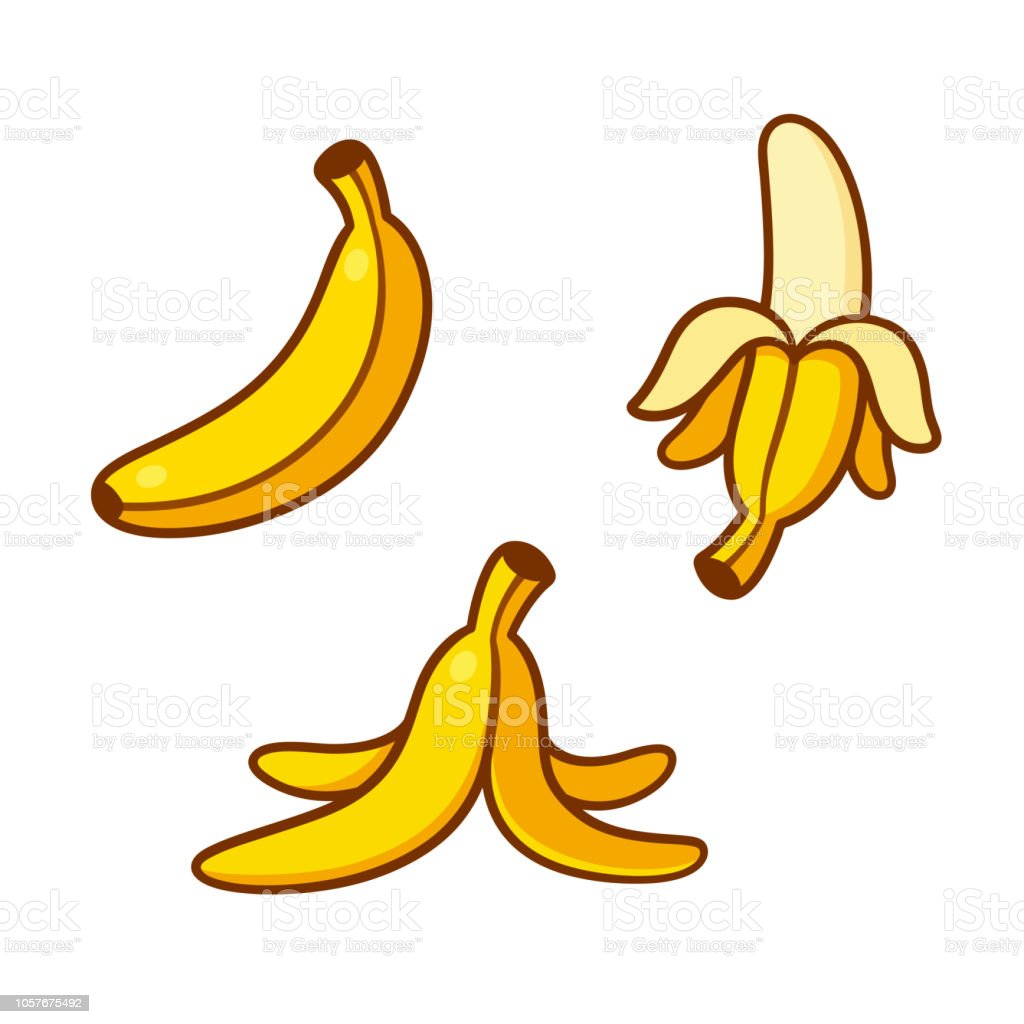 Cartoon bananas illustration set vector art illustration