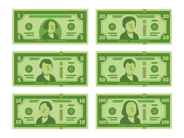 cartoon banknote. dollar cash, money banknotes and one hundred dollars bills stylized vector flat illustration - banknot stock illustrations