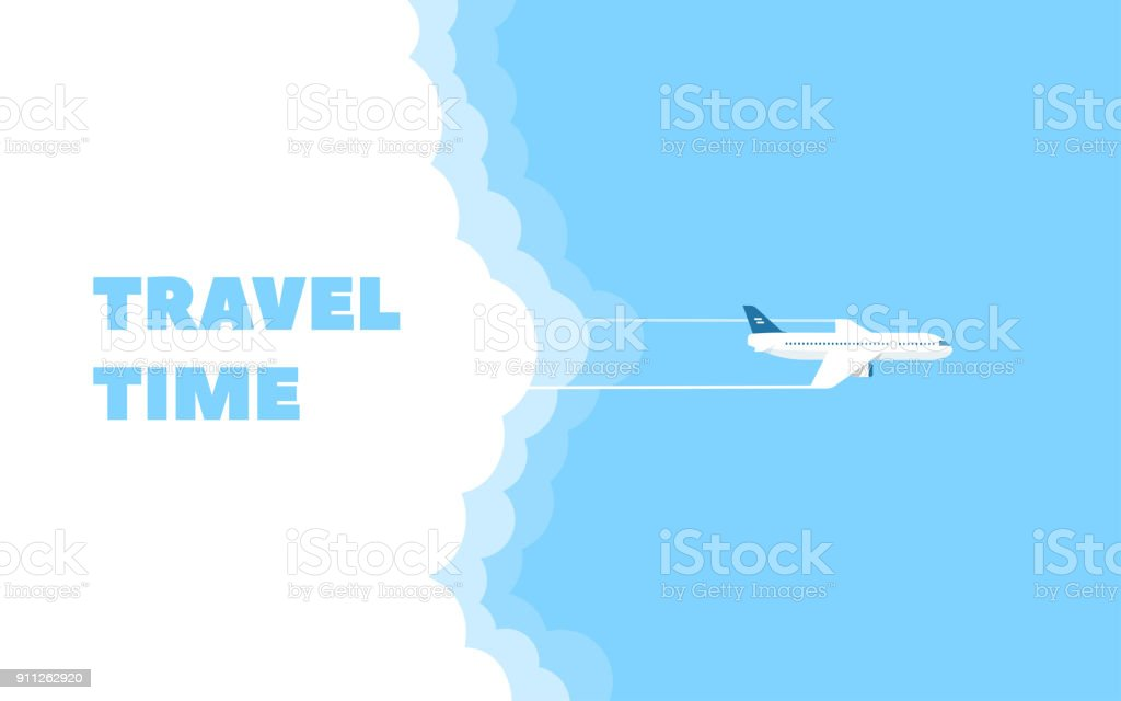Cartoon banner of the flying plane and cloud on blue sky background. Concept design template of time to travel. Vector illustration in flat style. vector art illustration