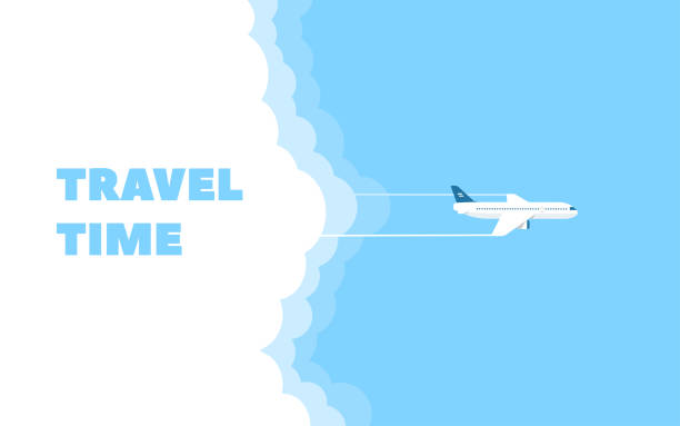 ilustrações de stock, clip art, desenhos animados e ícones de cartoon banner of the flying plane and cloud on blue sky background. concept design template of time to travel. vector illustration in flat style. - ilustrações de destinos de viagens