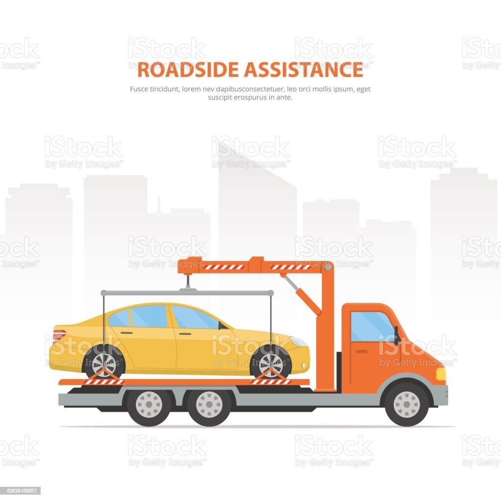 Cartoon banner roadside assistance. vector art illustration