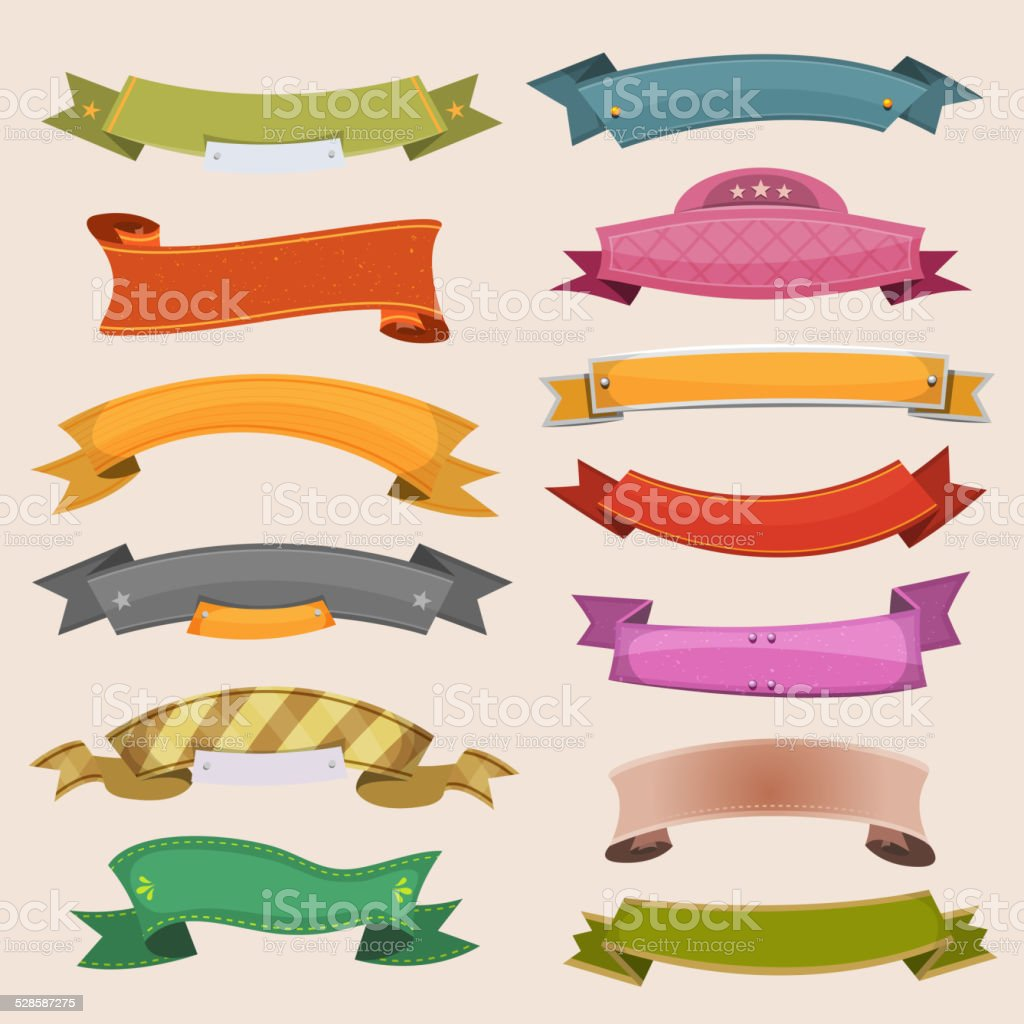 Cartoon Banners And Ribbons vector art illustration