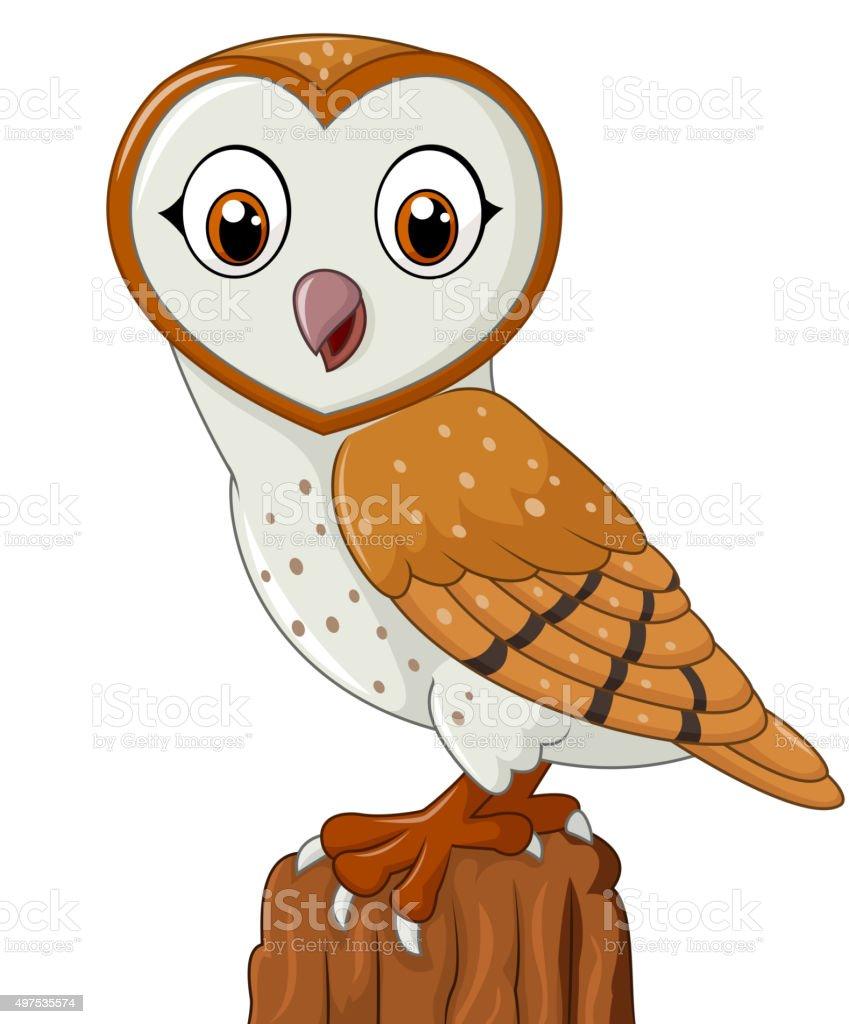 Cartoon barn owl isolated on white background向量藝術插圖