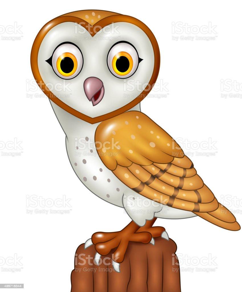 Cartoon barn owl posing isolated on white background向量藝術插圖