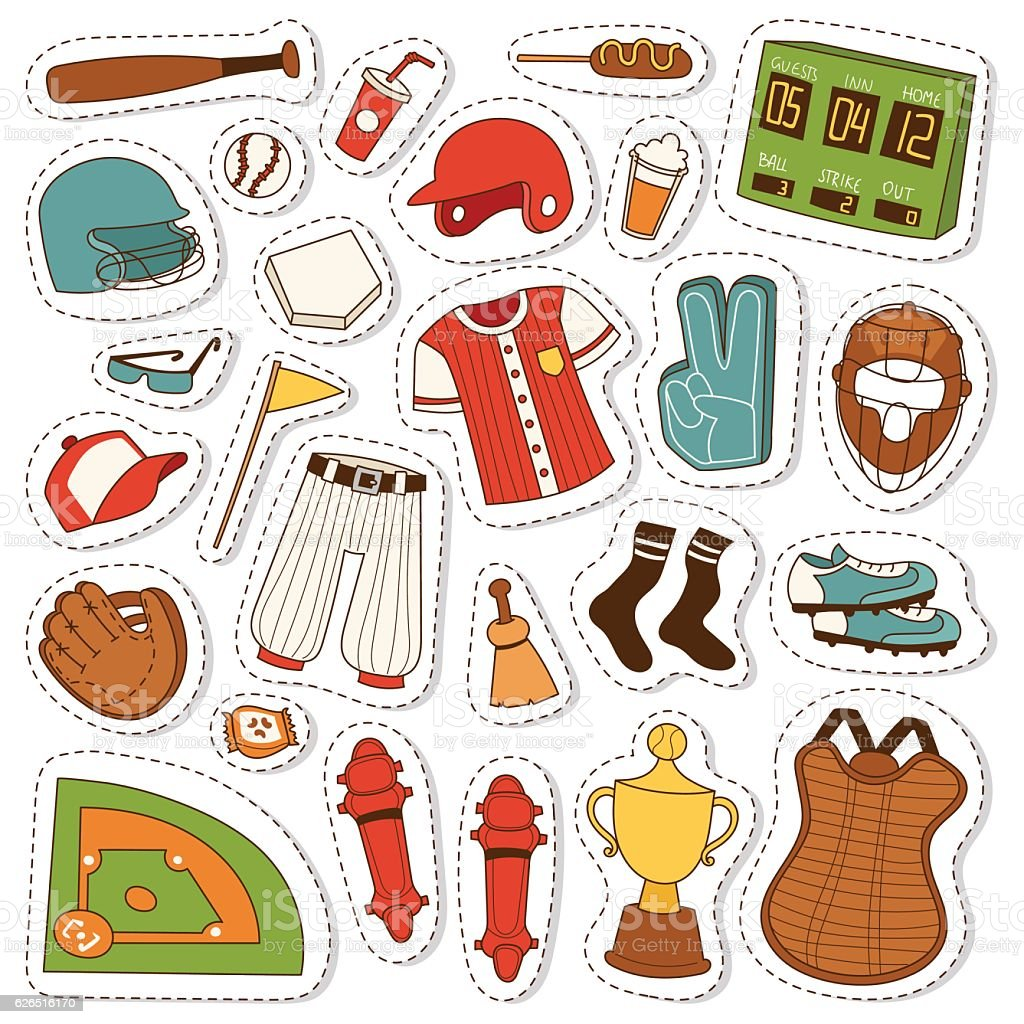 Cartoon baseball icons vector set. vector art illustration