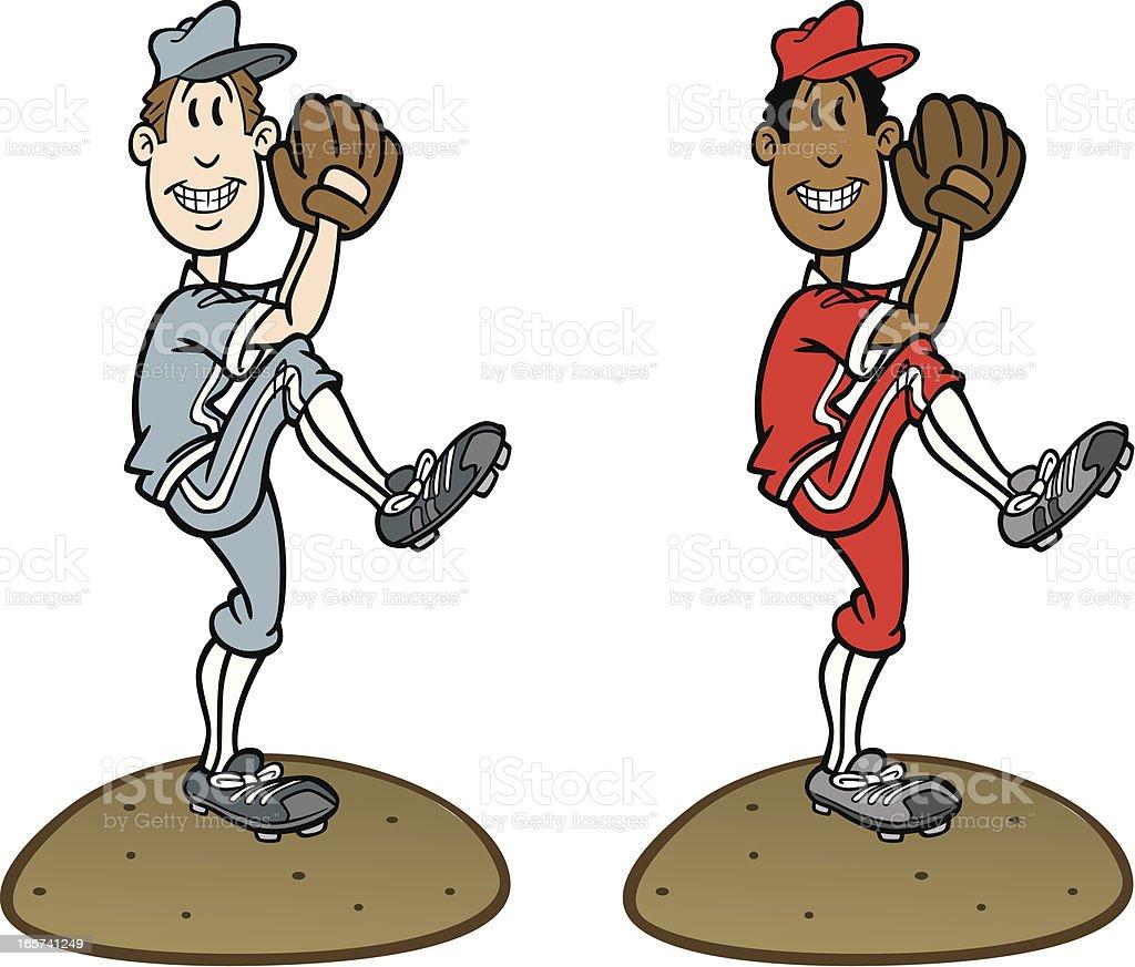 Cartoon Baseball Pitcher vector art illustration