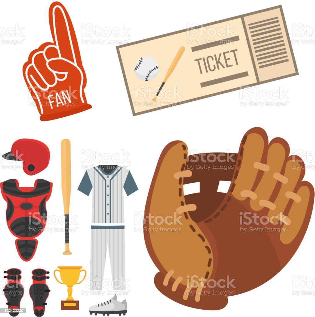 Cartoon baseball player icons batting vector design american game athlete sport league equipment vector art illustration