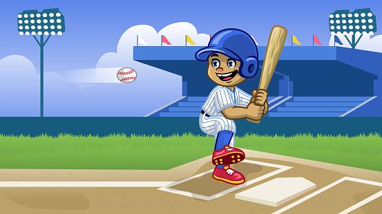 cartoon baseball player playing in the stadium