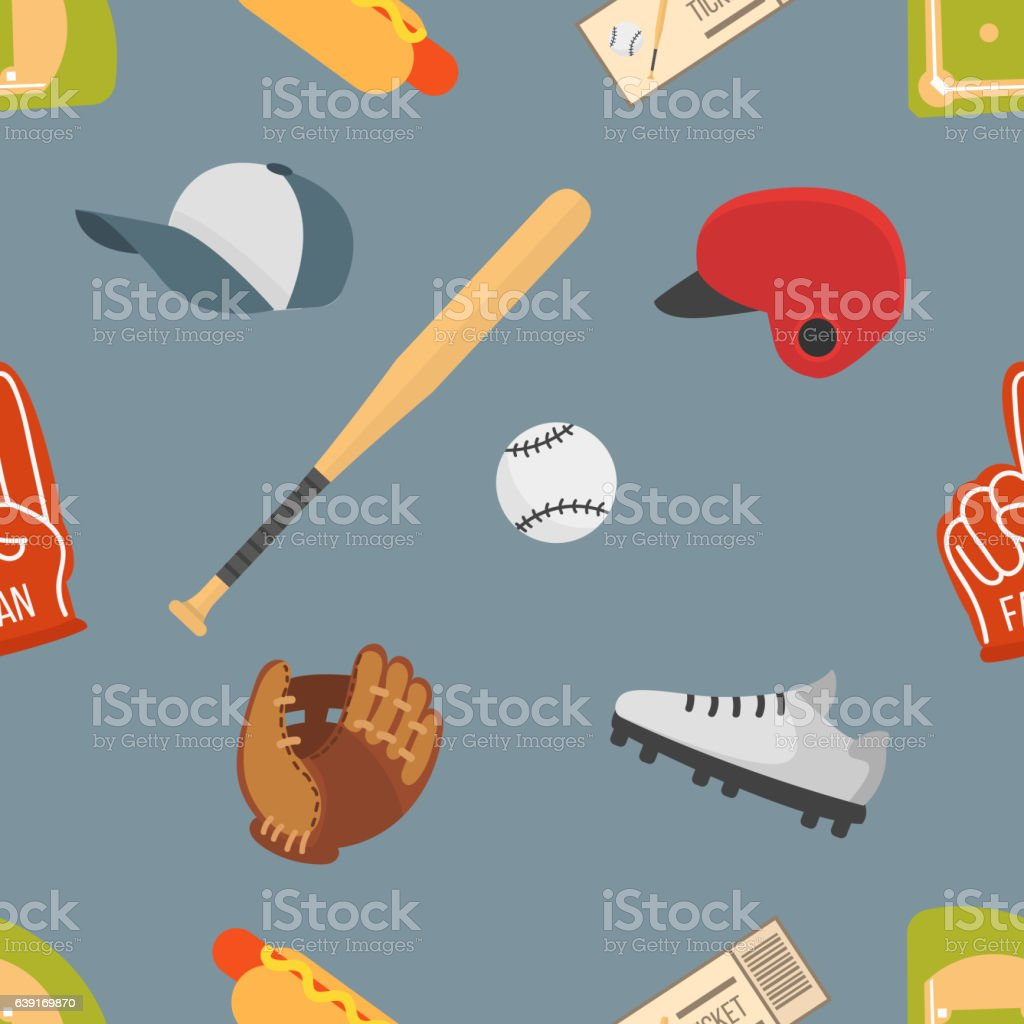Cartoon baseball seamless pattern – Vektorgrafik