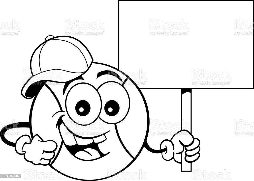 Ilustración de Dibujos Animados De Béisbol Usando Una Gorra De ...