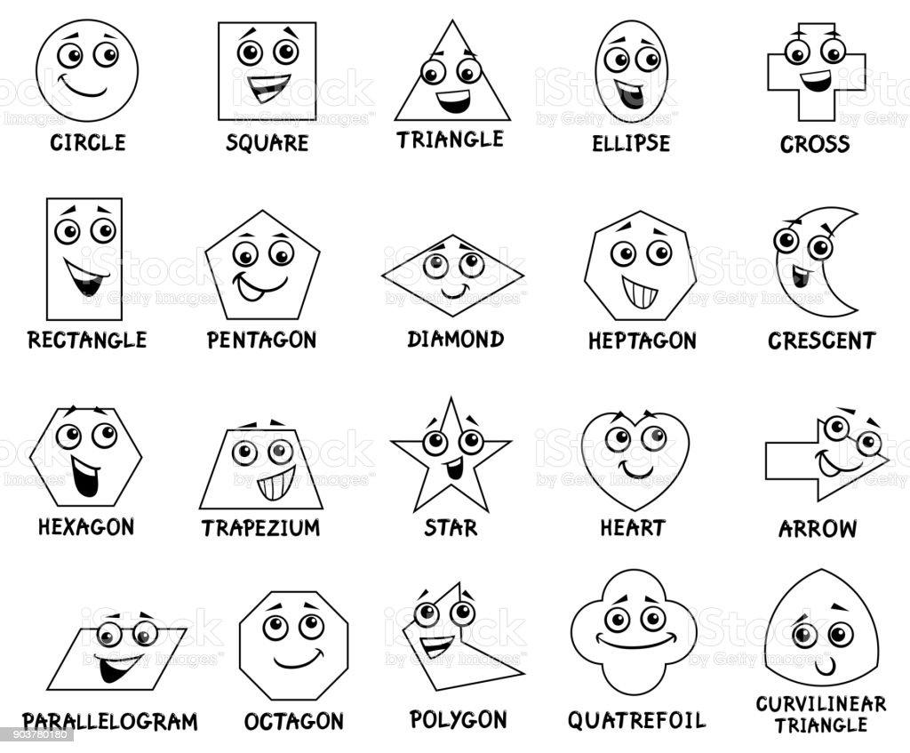 çizgi Film Temel Geometrik şekiller Karakterleri Stok Vektör Sanatı