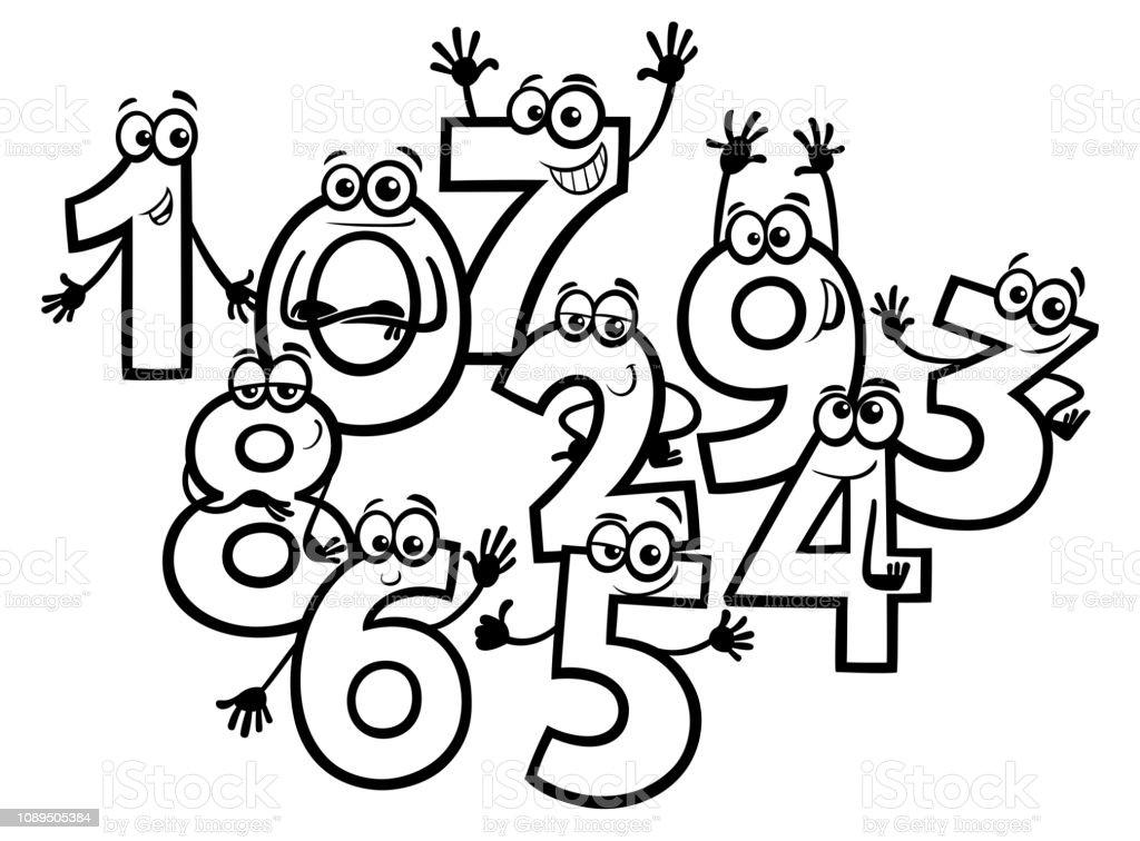 Ilustración De Libro Para Colorear De Dibujos Animados Números