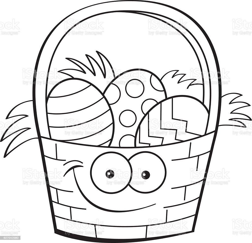 Cartoon Basket Filled With Easter Eggs Vektor Illustration 627042580 ...