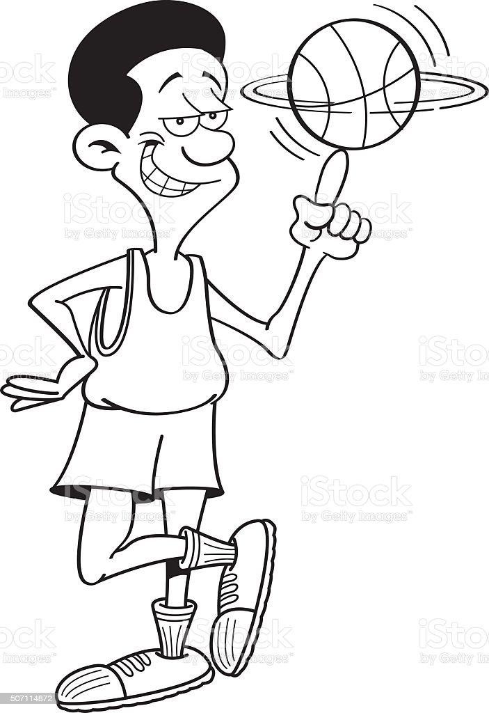 Ilustración de Historieta Jugador De Baloncesto Spinning Una De ...