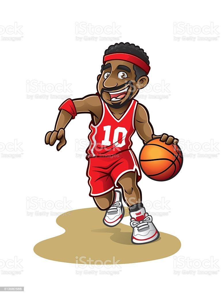 Cartoon Basketball Player vector art illustration